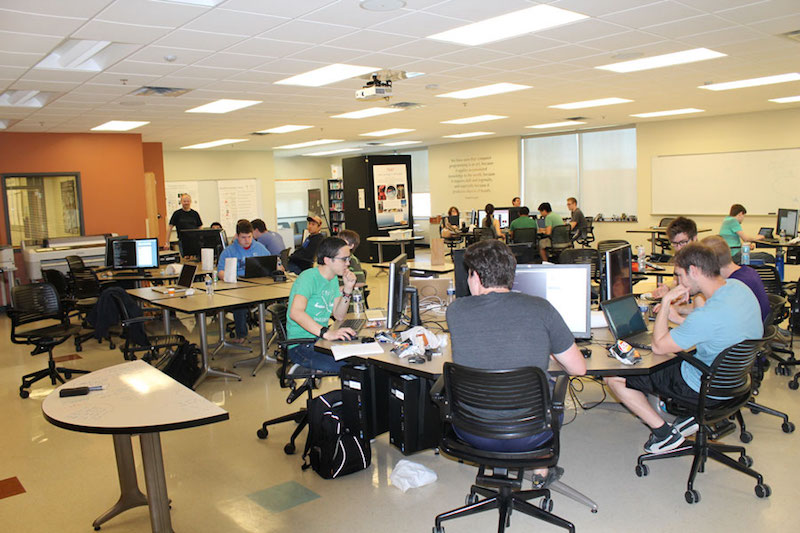 Taylor students compete remotely in a computer hacking competition.